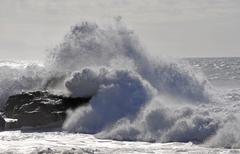 Breaking waves, puerto de la pena, aiuy, fuerteventura, canary islands, spain Stock Photos