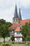 st. cyriakus provost church from the embankment walls, duderstadt, lower saxo - stock photo