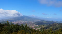 La Laguna with Teide in the background on Tenerife, Canary Islands, Spain Stock Footage