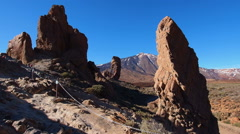 Teide Peak and Garcia Rocks in Teide National Park, Canary Islands, Spain Stock Footage