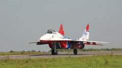 Mig 29 on the runway Stock Footage