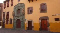 Columbus House in Vegueta District of Las Palmas de Gran Canaria Stock Footage