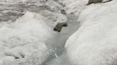 Melting snow and rocks, water flowing down the slope, spring Stock Footage