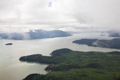 aerial view, inside passage south of wrangell, southeast alaska, alaska, usa, - stock photo