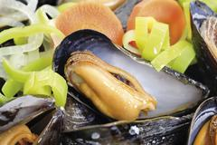 blue mussels (mytilus) with vegetables - stock photo