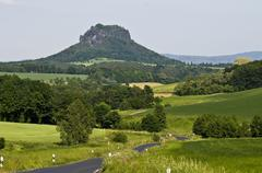 Stock Photo of landscape with lilienstein mountain, country road, elbe sandstone mountains,