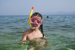 Girl with diving goggles and a snorkel, 6 years old, makarska, dalmatia, croa Stock Photos