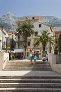Historic city center of makarska, dalmatia, croatia, europe Stock Photos