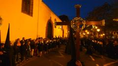 Holy Week Processions in San Cristobal de la Laguna on Tenerife Stock Footage
