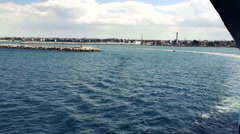 Ferry leaving the port of bari to driving on high sea Stock Footage
