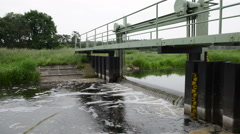 Weir on a river. Havelland (Brandenburg, Germany) Stock Footage