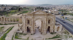 Aerial, drone footage of Roman ruins at Jerash in Jordan Stock Footage