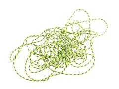 green string or twine on a white background. - stock photo
