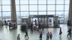 Terminal and moscow railway station security of people Stock Footage