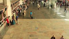 Moscow railway station terminal  and people going Stock Footage