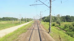 Moving train view from front car, transportation, railway road Stock Footage