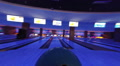 Person playing bowling, throwing a ball, active rest, gopro Footage