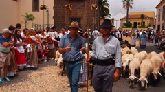 Romeria de San Benito  – Traditional Canarian Party in La Laguna on Tenerife Stock Footage