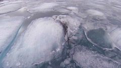 Jokulsarlon, flying over the ice, looking down Stock Footage