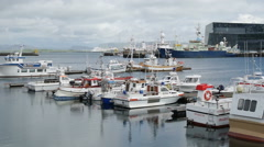 Ships in the port of Reykjavik Stock Footage