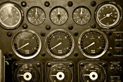 instrument panel in warship - stock photo