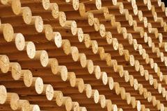 Rungs, roundwood, wood stack, wooden staffs Stock Photos