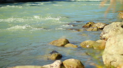 Yellow rocks in turbulent mountain river, beautiful nature, click for HD Stock Footage