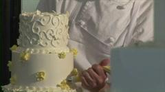 Wedding Cake Decorating Stock Footage