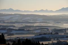 Stock Photo of morning mood before sunrise, auerberg, markt oberdorf, allgaeu, bavaria, germ