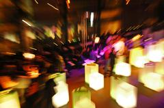 evening event, people, zoom effect - stock photo