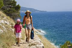 Stock Photo of path on the coast near makarska, mediterranean sea, dalmatia, croatia