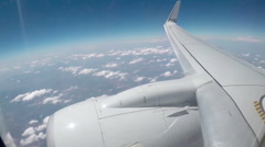 View from the porthole windows on the plane Stock Footage