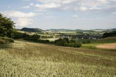 Landscape with village, solling-vogler nature park, weserbergland, lower saxo Stock Photos