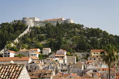 Spanish fortress, historic centre of hvar, hvar island, dalmatia, croatia, eu Stock Photos