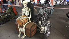 Skeleton on Harley Davidson bike. 4K. Stock Footage
