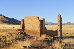 Stock Photo of house ruins with naukluft mountains at back, republic of namibia, africa