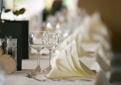 decorated table in a hotel - stock photo