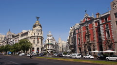 Alcala Street and The Metropolis Building in Madrid Stock Footage