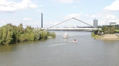 Bridge Reinkniebrucke. Dusseldorf. Germany Stock Footage