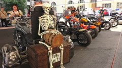 Skeleton on Harley Davidson bike. 4K. - stock footage