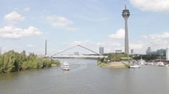 Media Port (Medienhafen) and Rheinturm tower Dusseldorf Stock Footage