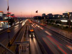 Metrobus Station and Traffic In Istanbul Time-Lapse Stock Footage