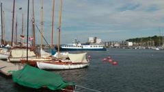 Sailingboats at Flensburg, Germany Stock Footage