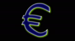 FLOATING EURO SIGN Stock Footage