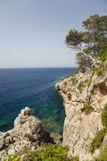 steep cliffs of hvar island, dalmatia, croatia, adriatic sea, mediterranean,  - stock photo