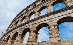 Ancient roman amphitheater in pula. croatia Stock Photos