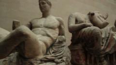Greek statues british museum Stock Footage