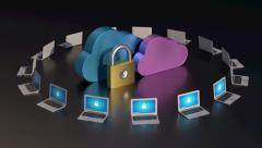 Seamlessly looping secure cloud computing concept Stock Footage