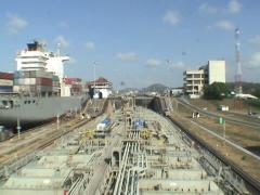 A time lapse of a merchant ship transiting through Panama canal Stock Footage