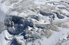 Icefall at the end of a glacier, theodulgletscher glacier, zermatt, valais, s Stock Photos